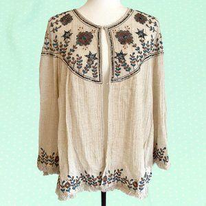 Zara boho embroidered linen fringe jacket